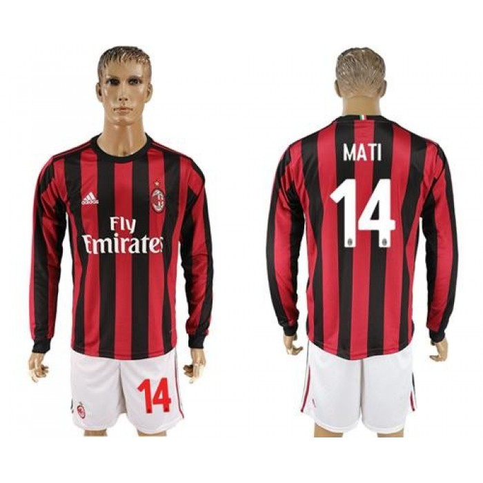 AC Milan #14 Mati Home Long Sleeves Soccer Club Jersey