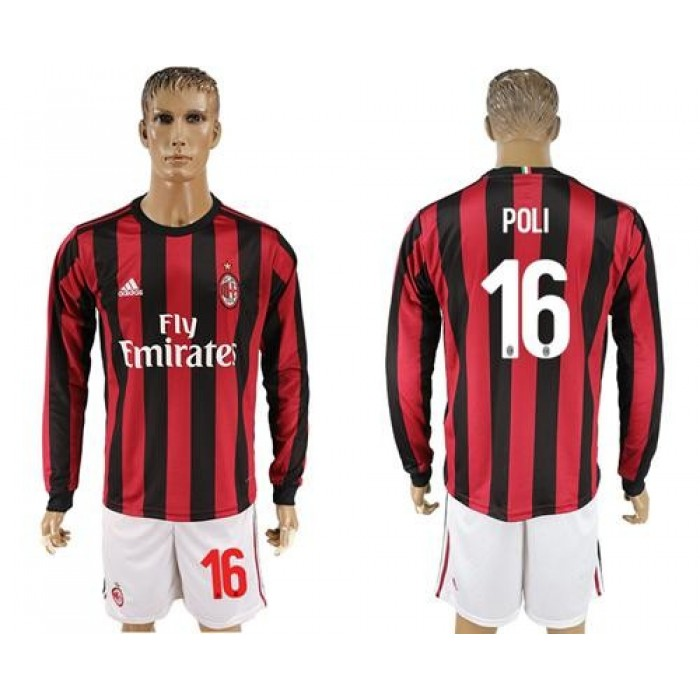 AC Milan #16 Poli Home Long Sleeves Soccer Club Jersey