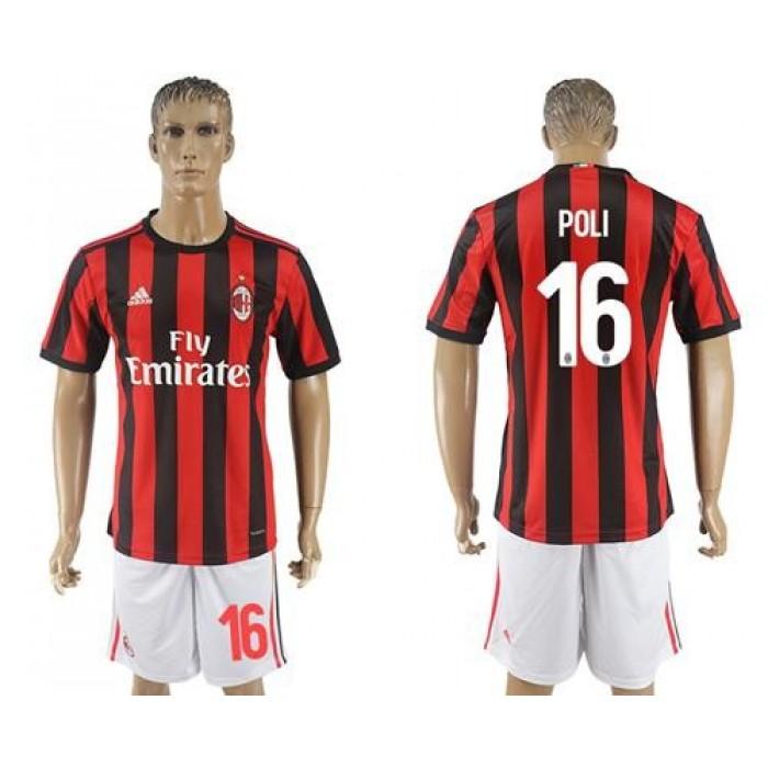 AC Milan #16 Poli Home Soccer Club Jersey
