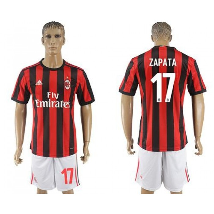 AC Milan #17 Zapata Home Soccer Club Jersey