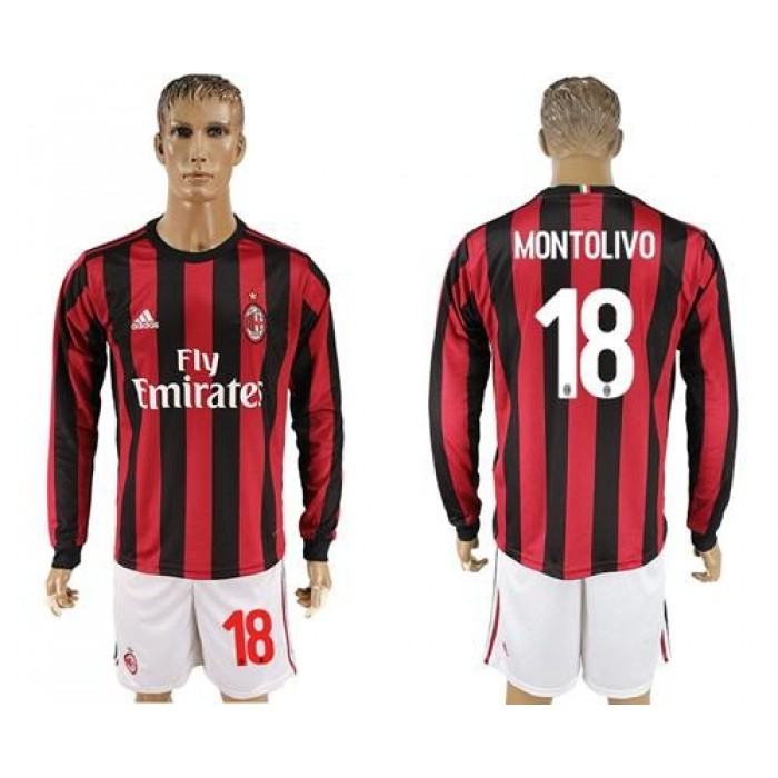 AC Milan #18 Montolivo Home Long Sleeves Soccer Club Jersey