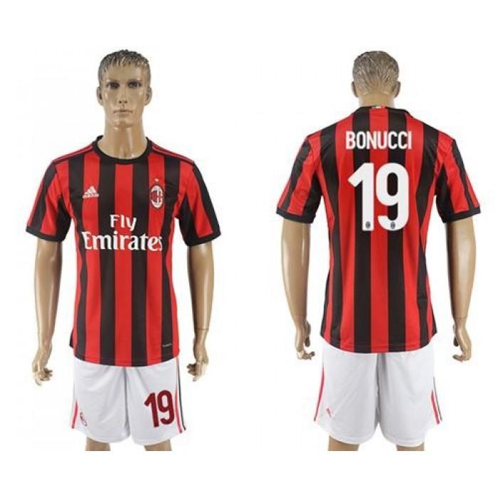 AC Milan #19 Bonucci Home Soccer Club Jersey
