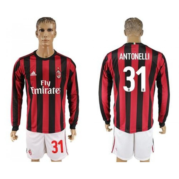 AC Milan #31 Antonelli Home Long Sleeves Soccer Club Jersey