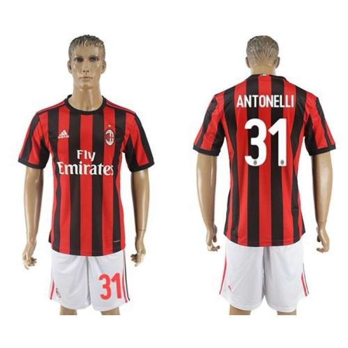 AC Milan #31 Antonelli Home Soccer Club Jersey