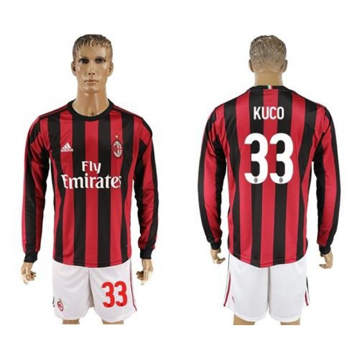 AC Milan #33 Kuco Home Long Sleeves Soccer Club Jersey