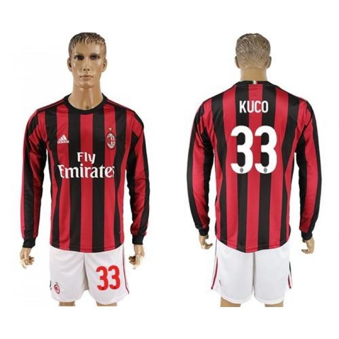 AC Milan #33 Kuco Home Long Sleeves Soccer Club Jersey