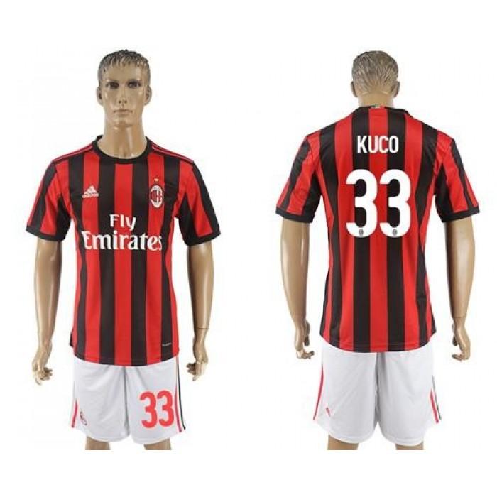 AC Milan #33 Kuco Home Soccer Club Jersey