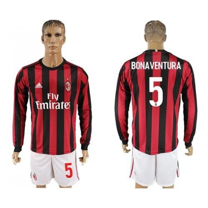 AC Milan #5 Bonaventura Home Long Sleeves Soccer Club Jersey