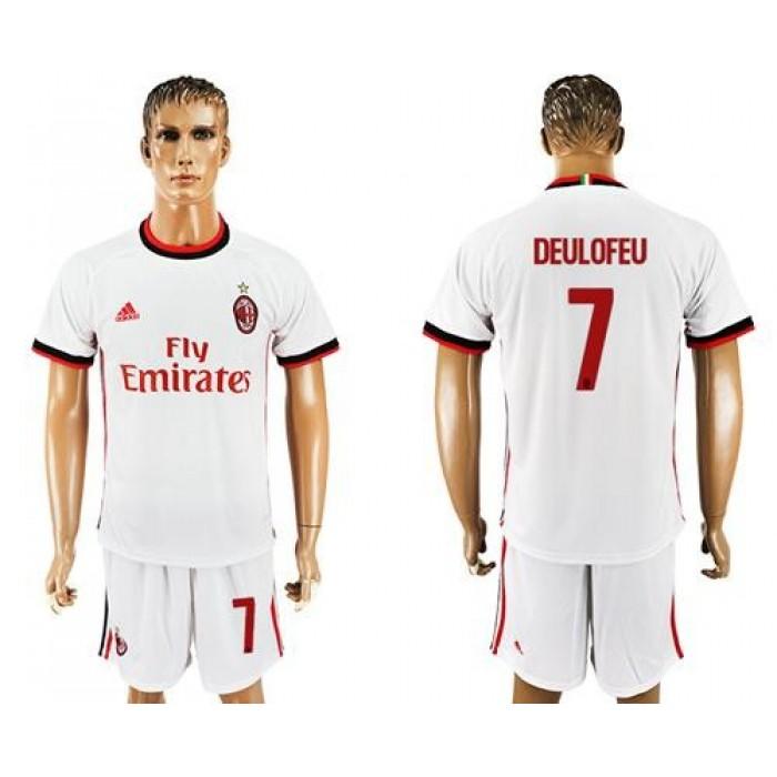 AC Milan #7 Deulofeu Away Soccer Club Jersey