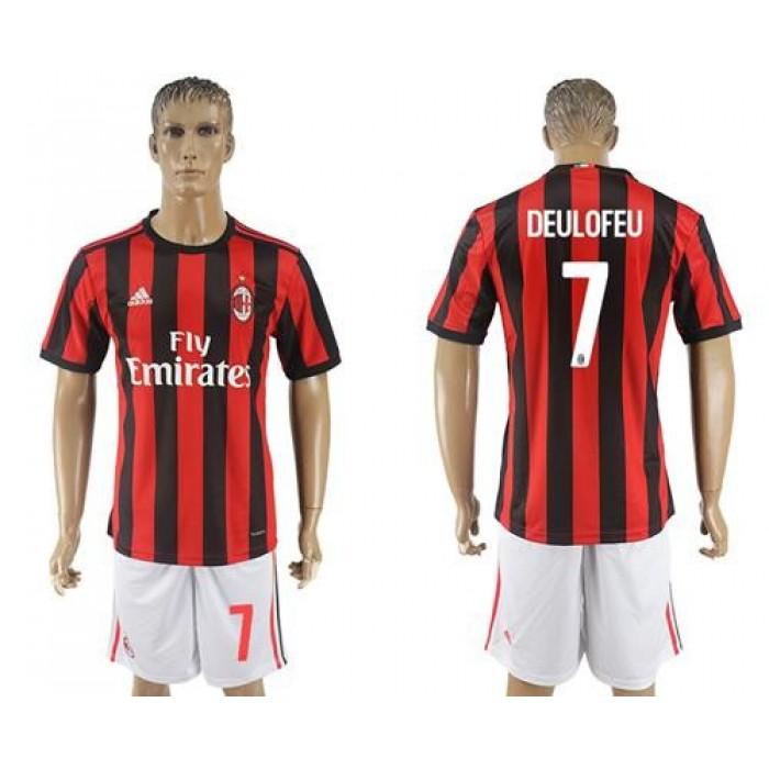 AC Milan #7 Deulofeu Home Soccer Club Jersey