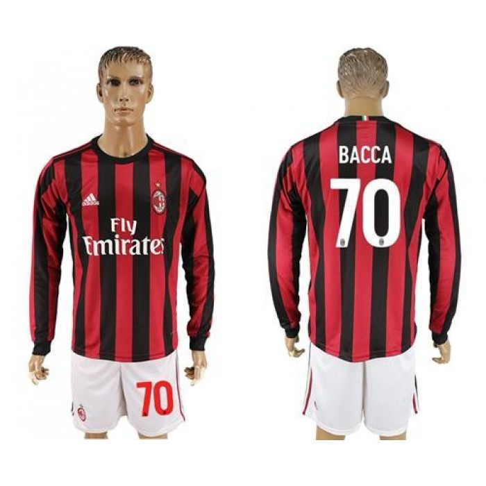AC Milan #70 Bacca Home Long Sleeves Soccer Club Jersey