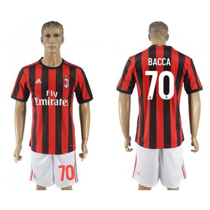 AC Milan #70 Bacca Home Soccer Club Jersey