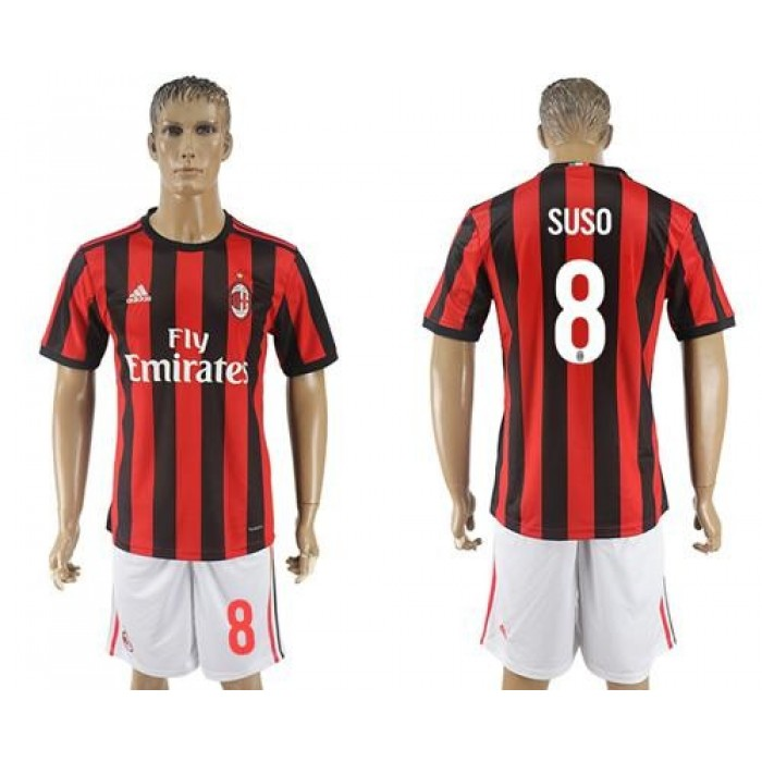 AC Milan #8 Suso Home Soccer Club Jersey