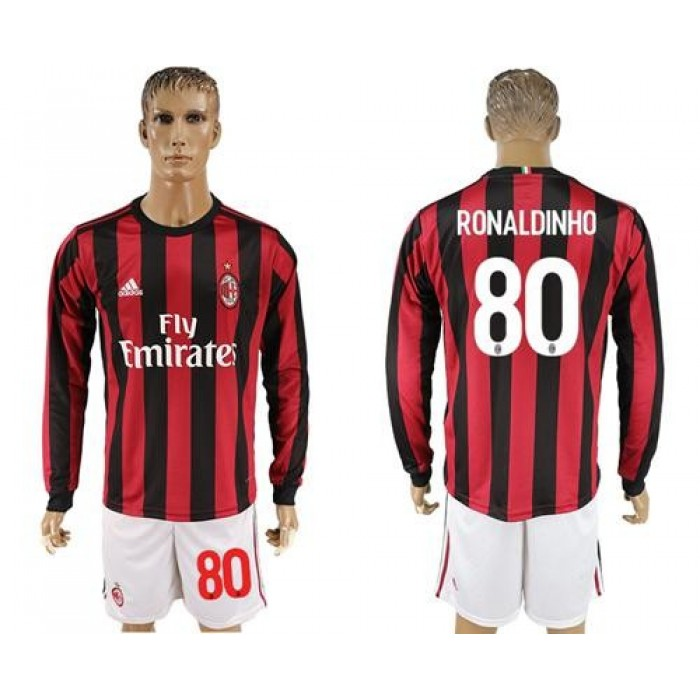 AC Milan #80 Ronaldinho Home Long Sleeves Soccer Club Jersey