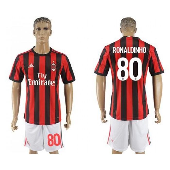AC Milan #80 Ronaldinho Home Soccer Club Jersey