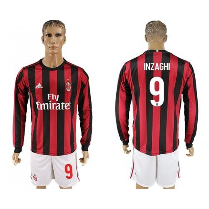 AC Milan #9 Inzaghi Home Long Sleeves Soccer Club Jersey