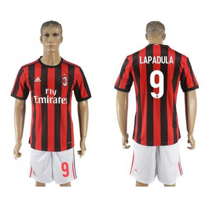 AC Milan #9 Lapadula Home Soccer Club Jersey
