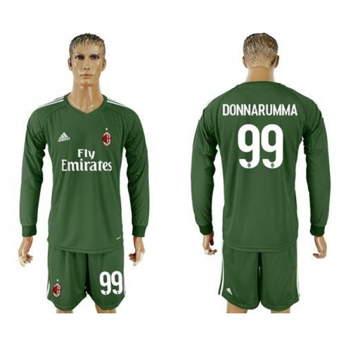 AC Milan #99 Donnarumma Green Goalkeeper Long Sleeves Soccer Club Jersey