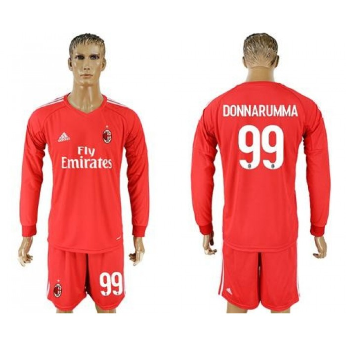 AC Milan #99 Donnarumma Red Goalkeeper Long Sleeves Soccer Club Jersey