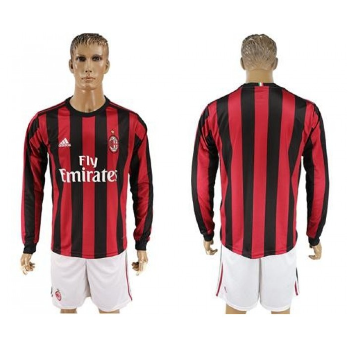 AC Milan Blank Home Long Sleeves Soccer Club Jersey