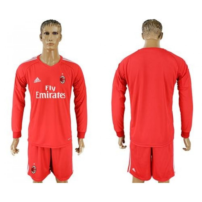 AC Milan Blank Red Goalkeeper Long Sleeves Soccer Club Jersey