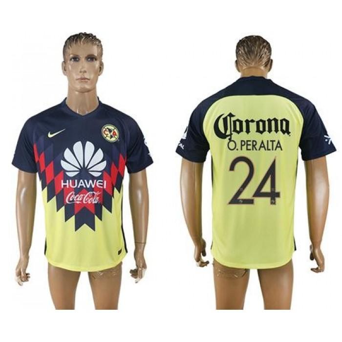America #24 O.Peralta Home Soccer Club Jersey