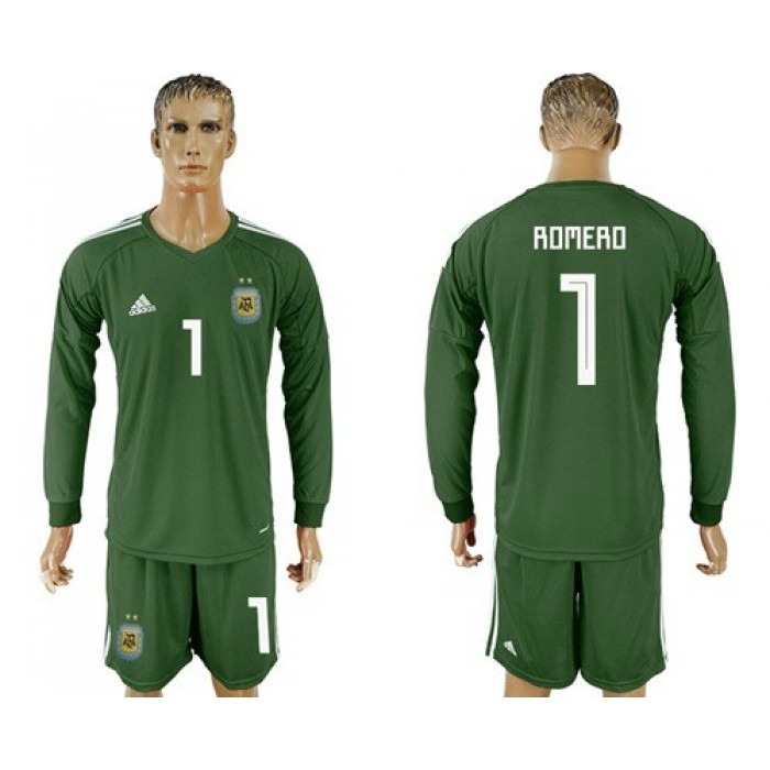 Argentina #1 Romero Army Green Long Sleeves Goalkeeper Soccer Country Jersey