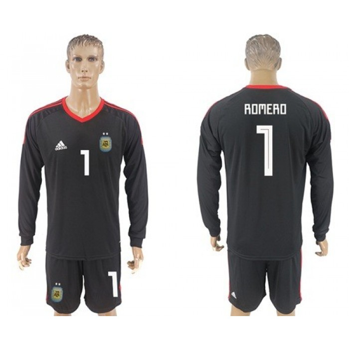 Argentina #1 Romero Black Long Sleeves Goalkeeper Soccer Country Jersey