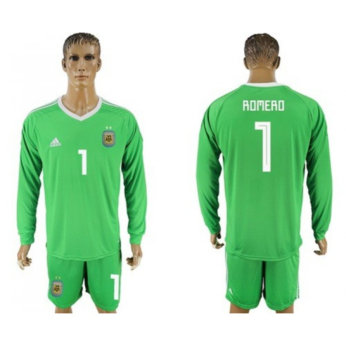 Argentina #1 Romero Green Long Sleeves Goalkeeper Soccer Country Jersey