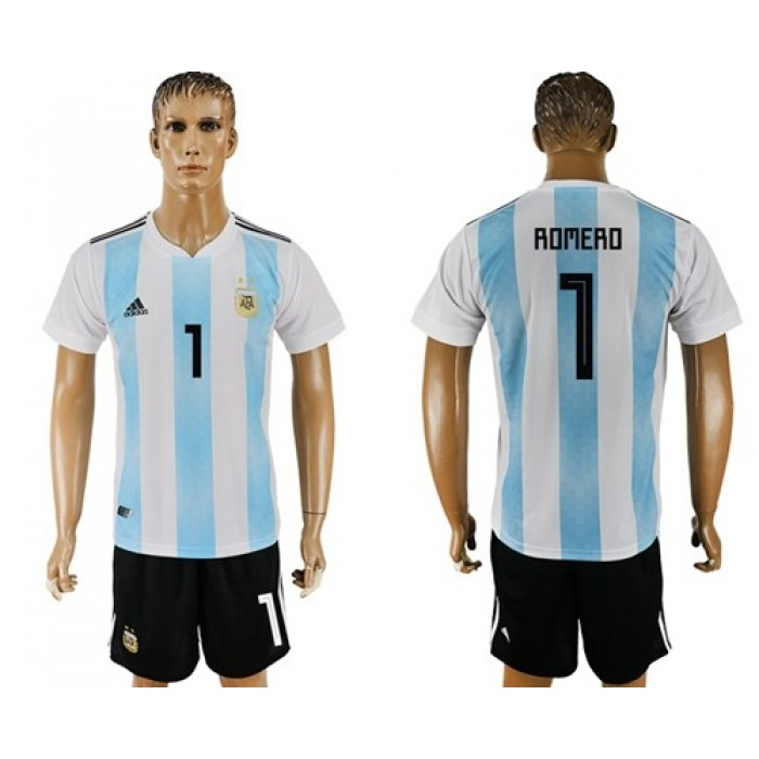 Argentina #1 Romero Home Soccer Country Jersey