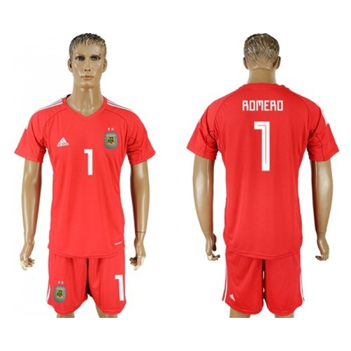 Argentina #1 Romero Red Goalkeeper Soccer Country Jersey