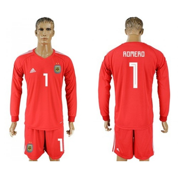 Argentina #1 Romero Red Long Sleeves Goalkeeper Soccer Country Jersey