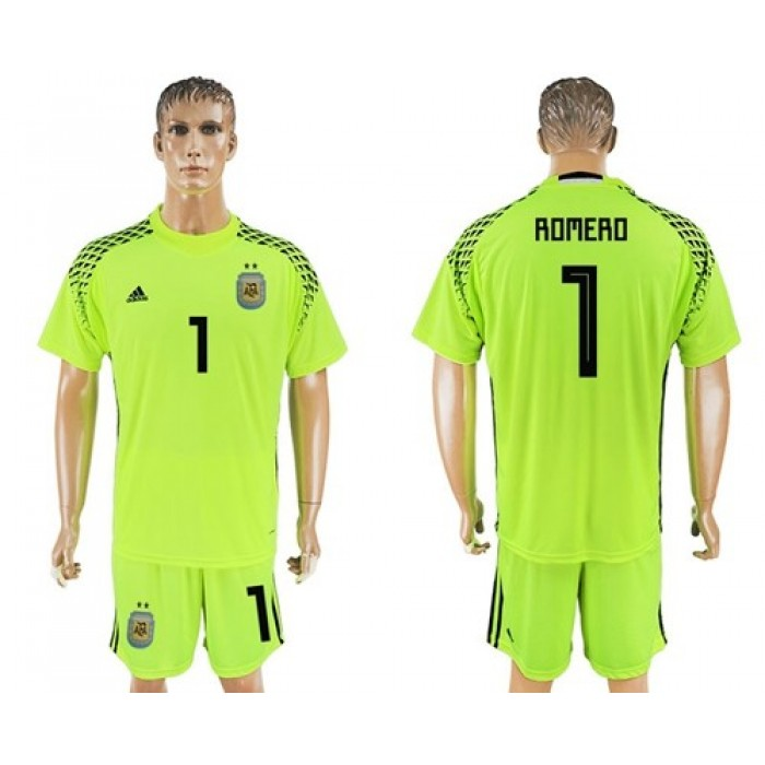 Argentina #1 Romero Shiny Green Goalkeeper Soccer Country Jersey