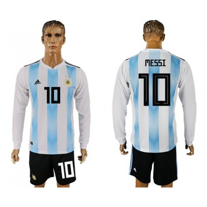 Argentina #10 Messi Home Long Sleeves Soccer Country Jersey