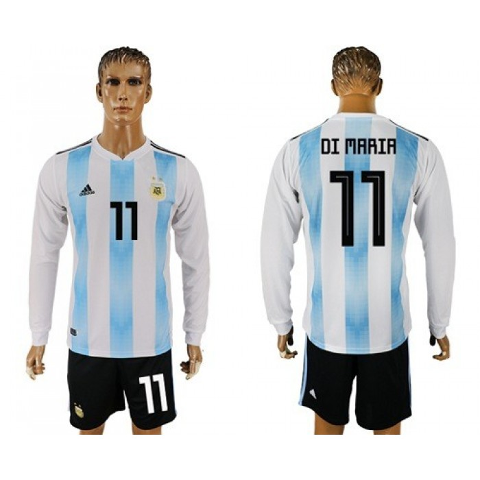 Argentina #11 Di Maria Home Long Sleeves Soccer Country Jersey
