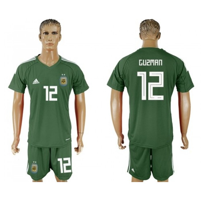 Argentina #12 Guzman Army Green Goalkeeper Soccer Country Jersey