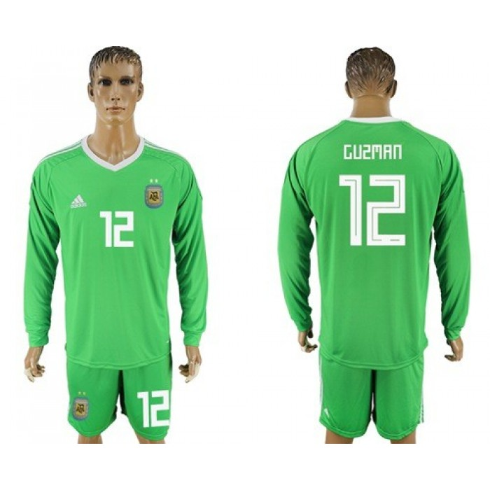 Argentina #12 Guzman Green Long Sleeves Goalkeeper Soccer Country Jersey