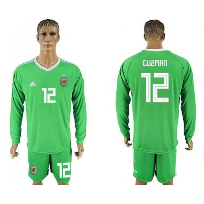 Argentina #12 Guzman Green Long Sleeves Goalkeeper Soccer Country Jersey