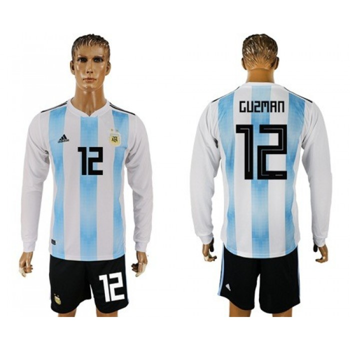 Argentina #12 Guzman Home Long Sleeves Soccer Country Jersey