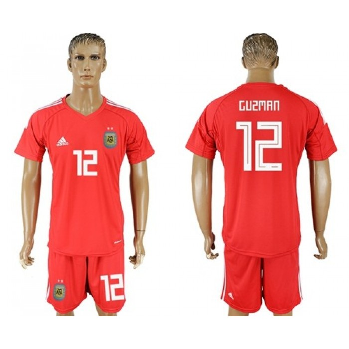Argentina #12 Guzman Red Goalkeeper Soccer Country Jersey