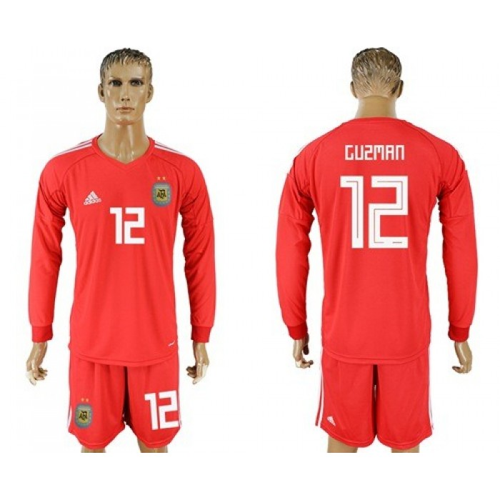 Argentina #12 Guzman Red Long Sleeves Goalkeeper Soccer Country Jersey