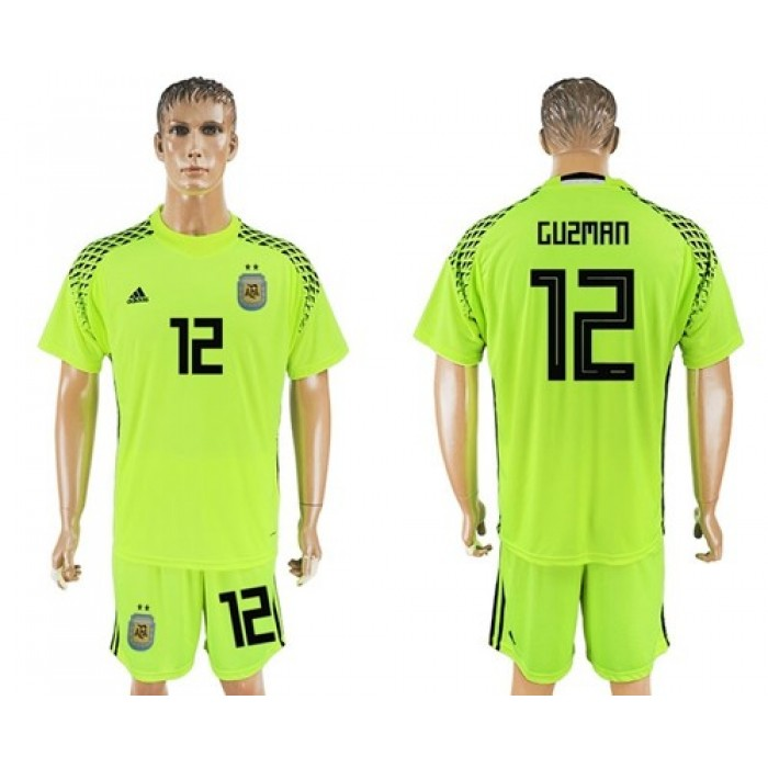 Argentina #12 Guzman Shiny Green Goalkeeper Soccer Country Jersey
