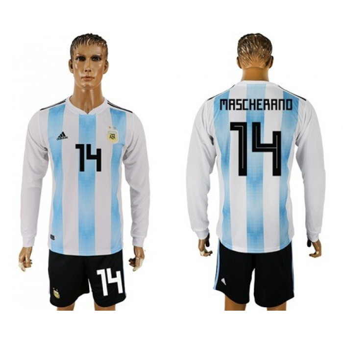 Argentina #14 Mascherano Home Long Sleeves Soccer Country Jersey