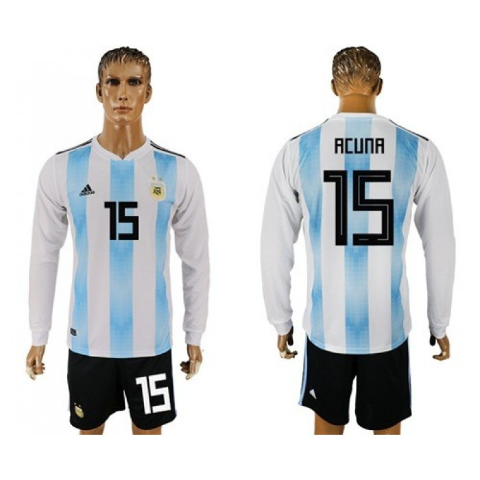 Argentina #15 Acuna Home Long Sleeves Soccer Country Jersey