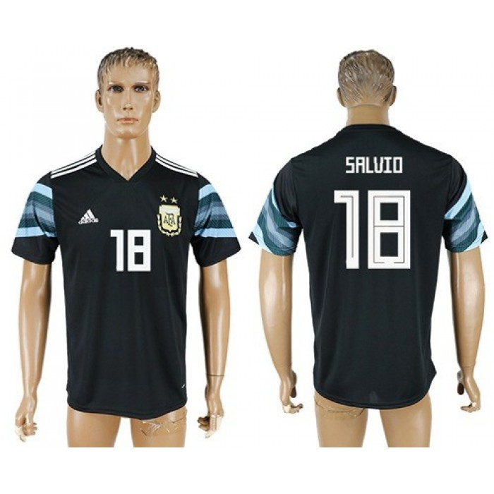 Argentina #18 Salvio Away Soccer Country Jersey