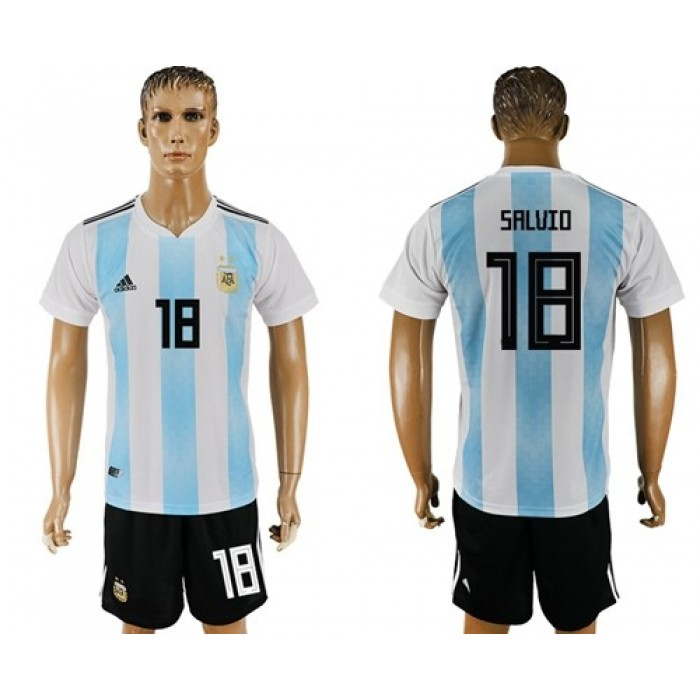 Argentina #18 Salvio Home Soccer Country Jersey