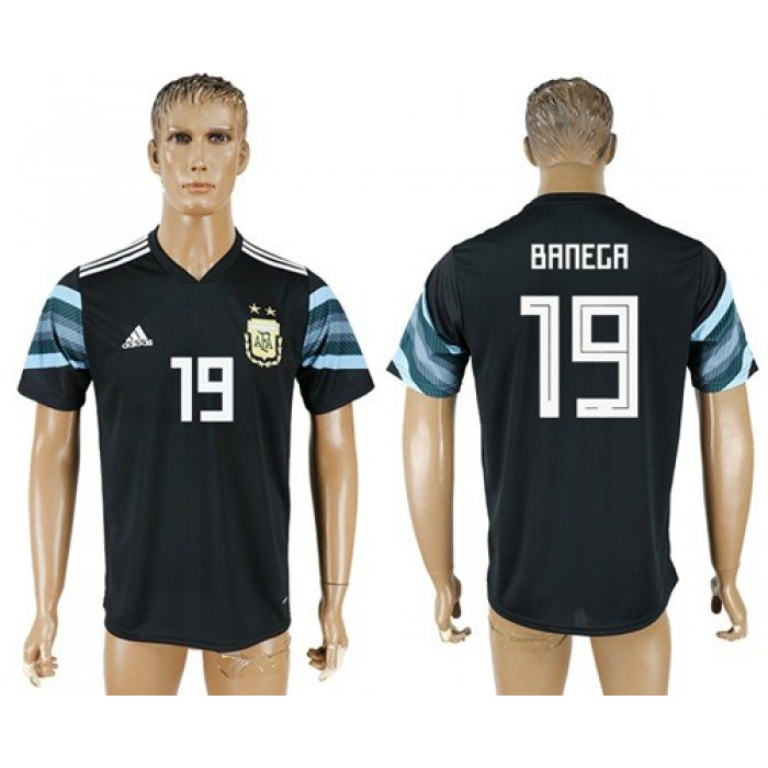 Argentina #19 Banega Away Soccer Country Jersey