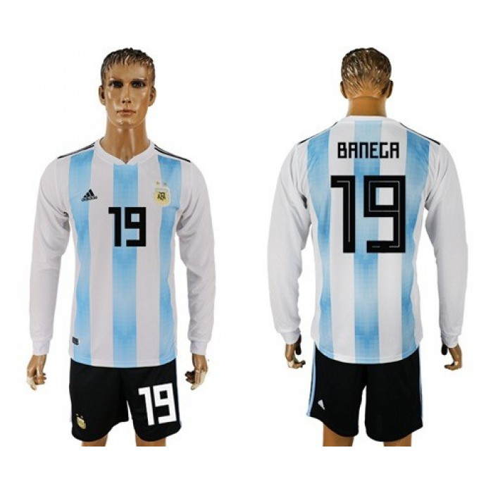 Argentina #19 Banega Home Long Sleeves Soccer Country Jersey
