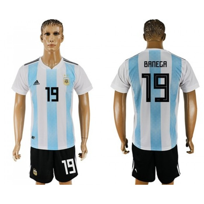 Argentina #19 Banega Home Soccer Country Jersey
