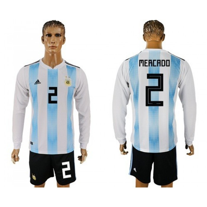 Argentina #2 Mercado Home Long Sleeves Soccer Country Jersey
